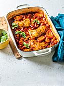 Tuscan chicken and white bean traybake