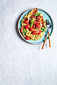Barley risotto wirh cherry tomatoes and bacon