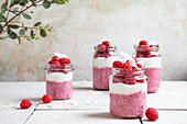 Raspberry and lime chia pudding with coconut