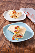 Wraps with chicken, corn and cream cheese