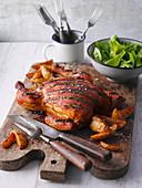 Grilled chicken with beet cabbage and Kölsch marinade