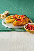Spanish omelette with red pepper and tomato salad