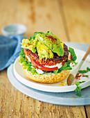 Chilli sin carne burgers with avocado smash and feta