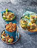 Three ways with calamari - Cajun fried, Asian pickled, Grilled garlic and herb