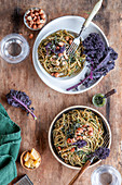 Pasta with kale pesto