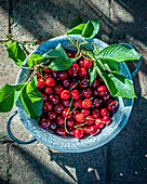 Cherries in a metal sieve