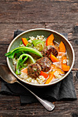 Barley pot with chestnut and wild boar meatballs