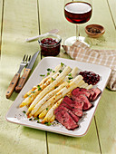 White roast asparagus with rump steaks