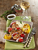 Pork fillet skewers with corn