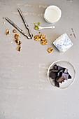 Ingredients for matcha walnut muffins