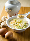 Chinese chicken broth with Chinese cabbage, egg and ginger