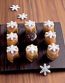 Pieces of Baumkuchen (German layer cake)