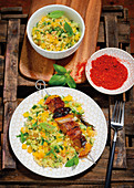 Fruity lamb skewers with a couscous salad