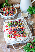 Berry rainbow pavlova