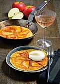 Oven-baked apple pancakes with calvados sabayon