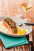 Gratinated salmon fillet with shiitake and wasabi Hollandaise