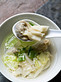 Chinese wonton soup with Chinese cabbage