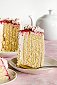 Vanilla and raspberry sponge roll cake