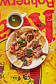 Moroccan lamb chops with mint oil