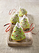 Christmas tree cakes with pistachio nuts and pomegranate jelly