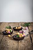 Chocolate raspberry tartlets
