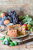 Cake with grapes and peaches