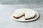 Creamy, gluten-free cheesecake with a chocolate base