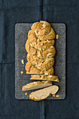 Gluten-free bread plait made from rice and amaranth flour