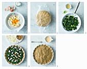 Gluten-free spinach pie being made