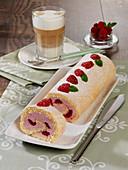 Raspberry log cake