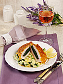 Florentine-stlye escalope with mashed potatoes