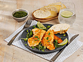 Salmon escalopes with dill pesto