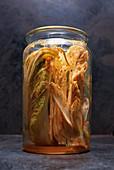 Spicy kimchi in a jar