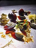 Fermented eggs with ginger vinaigrette