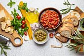 Italian Tomato Bolognese sauce, spaghetti, cheese parmesan, ripe olives, ciabatta and snacks