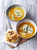 Pumpkin soup with pesto rolls