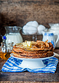 Crepes with melted butter