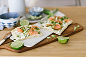 Spring-like pizza with salmon, watercress, and wasabi