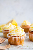 Lemon and poppy seed cupcakes with cheese cream frosting