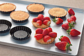 Strawberry tartlets with almond cream