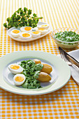 Frankfurt green sauce with hard-boiled eggs and potatoes