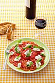 Beefsteak tomatoes with buffalo mozzarella