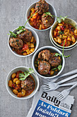 Mumbay-style meatballs with an Indian baked bean stew