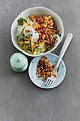 Warm chicken and glass noodle salad with mango