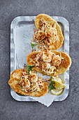 Fried scallops on Jaipur-style cabbage salad and unleavened bread