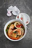 Chinese fish soup with maccaroni