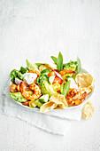 Tandoori prawn and pappadum salad