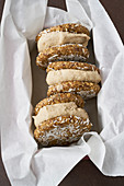 Ice cream cookie sandwich with almond butter