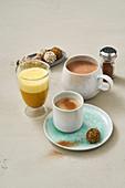 Chai no-tea latte, turmeric latte and hot mint chocolate