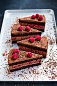 Vegan dark chocolate and raspberry cake